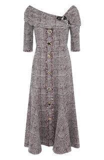 Вязаное платье-миди с открытым плечом и декоративными пуговицами Erdem