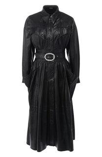 Кожаное платье с поясом и накладными карманами Dodo Bar Or
