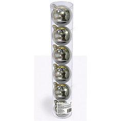 Набор елочных шаров B&H 6 шт, 6 см., серебряные
