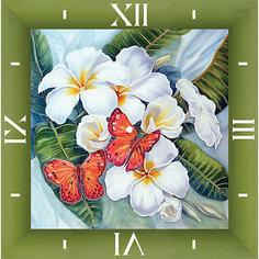 """Алмазная вышивка Color KIT """"Алмазные часы"""" Бабочки и магнолии, 30х30 см"""
