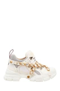 Белые кроссовки Flashtrek со съемным декором Gucci