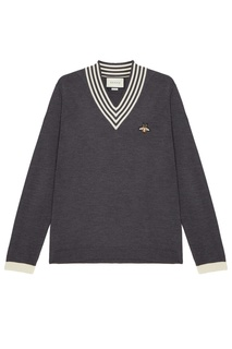 Серый пуловер с нашивкой Gucci Man