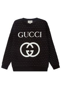Свитшот со стразами и логотипом Gucci