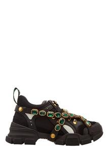 Черные кроссовки Flashtrek со съемным декором Gucci