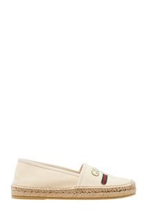 Белые эспадрильи с логотипом Gucci