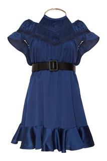 Синее платье с ажурной отделкой Self Portrait