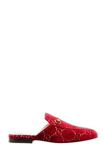 Бордовые слиперы с пряжками Gucci