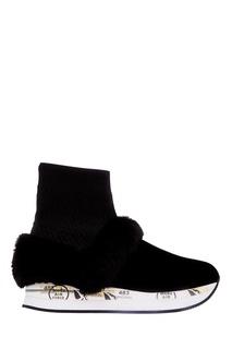 Черные кроссовки с меховой отделкой Premiata