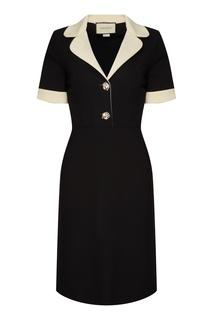 Черное платье с контрастной отделкой Gucci