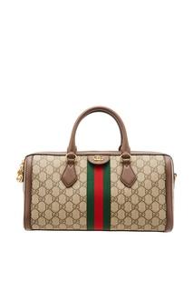 Бежевая сумка Ophidia с монограммами Gucci