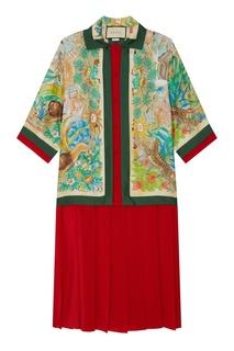 Платье с комбинированным дизайном Gucci