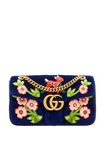 Синяя сумка с вышивкой GG Marmont Gucci