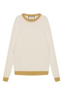 Белый джемпер с золотистой отделкой Gucci