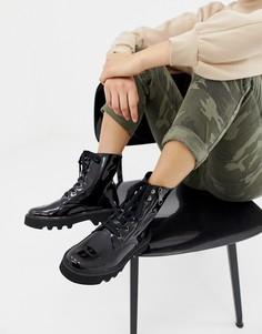 Черные лакированные ботильоны на шнуровке с молниями Calvin Klein Diahne - Черный