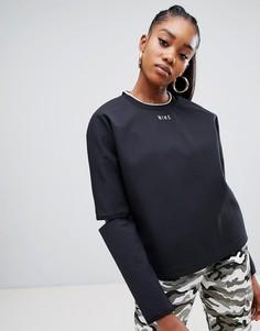Черный лонгслив с разрезами на локтях Nike - Черный
