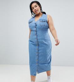 Джинсовое платье миди на пуговицах без рукавов ASOS DESIGN Curve - Синий