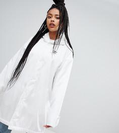 Серое пальто с капюшоном adidas Originals - Белый