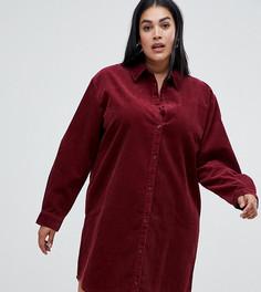 Бордовое вельветовое платье-рубашка ASOS DESIGN Curve - Красный