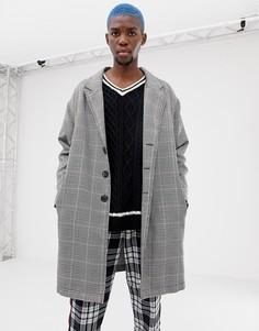 Серое пальто в клетку COLLUSION - Серый