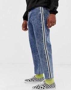 Темные выбеленные укороченные джинсы прямого кроя с полосками по бокам COLLUSION - Синий