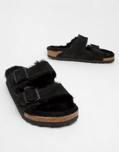 Черные сандалии с подкладкой из шерсти Birkenstock Arizona - Черный