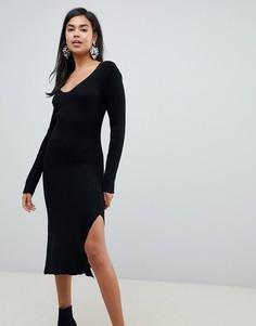 Платье миди в рубчик с V-образным вырезом ASOS DESIGN - Черный