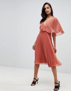 Платье миди с рукавами клеш и плиссированной юбкой ASOS DESIGN - Коричневый