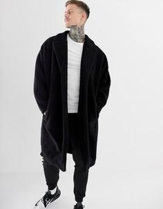 Черное oversize-пальто из искусственного меха ASOS DESIGN - Черный