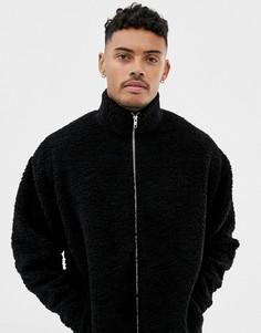 Свободная спортивная куртка из искусственной цигейки ASOS DESIGN - Черный