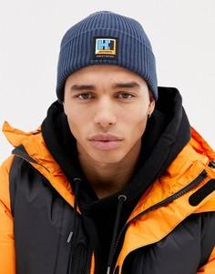 Темно-синяя шапка-бини в рубчик с нашивкой-логотипом SWEET SKTBS X Helly Hansen - Темно-синий