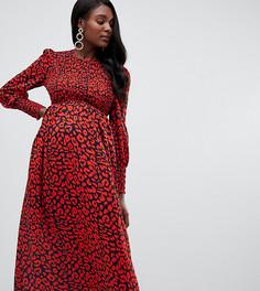 Красное присборенное платье миди с длинными рукавами и леопардовым принтом Queen Bee - Красный