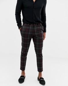 Бордовые зауженные строгие брюки в клетку Burton Menswear - Красный