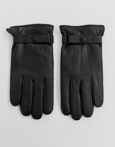 Черные кожаные перчатки с кнопками Peter Werth - Черный