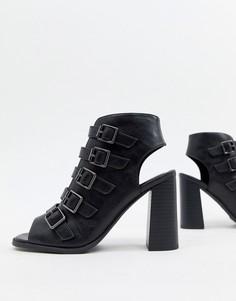 Босоножки на блочном каблуке с пряжками New Look - Черный