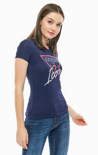 Синяя хлопковая футболка с принтом Guess