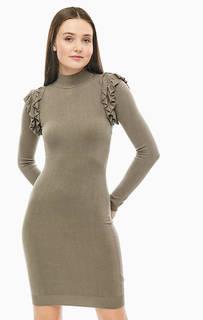 Платье цвета хаки из вискозы с длинными рукавами Marciano Guess