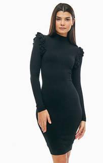 Черное платье из вискозы с длинными рукавами Marciano Guess
