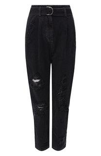 Укороченные джинсы с поясом и потертостями Iro