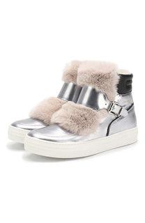 Кожаные ботинки с меховой отделкой Simonetta