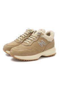 Замшевые кроссовки с меховой отделкой Hogan