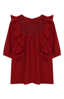 Платье свободного кроя с оборками и кружевной отделкой Chloé