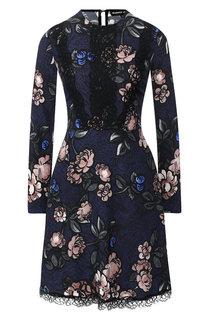Приталенное платье с принтом и кружевной отделкой Markus Lupfer