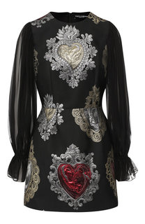 Мини-платье с полупрозрачными рукавами и принтом Dolce & Gabbana