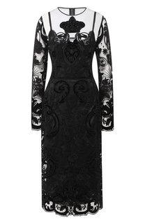 Кружевное платье-миди с прозрачной вставкой Dolce & Gabbana