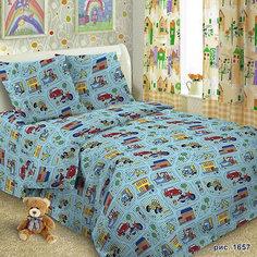 Детское постельное белье 3 предмета Letto, Машинки, голубой