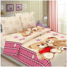 Детское постельное белье 1,5 сп Letto Влюбленные мишки, розовый