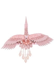 Брошь «Журавль» розового цвета малая Nebo