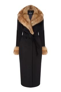 Черное пальто с золотистыми пуговицами Dreamfur