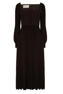 Черное платье миди Valentino