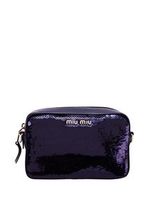 Синяя сумочка с пайетками Miu Miu